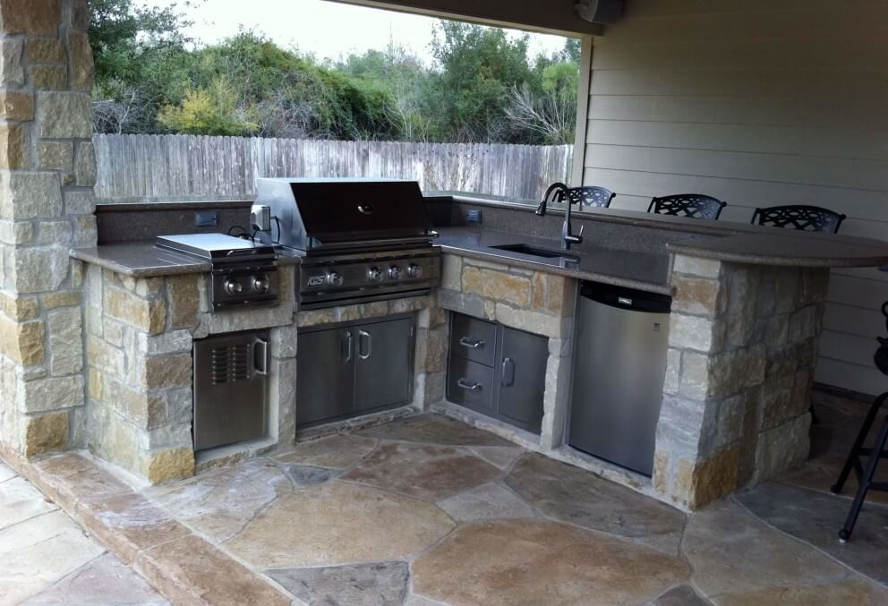 Patio Cover And Outdoor Kitchen Off Garage Texas Custom