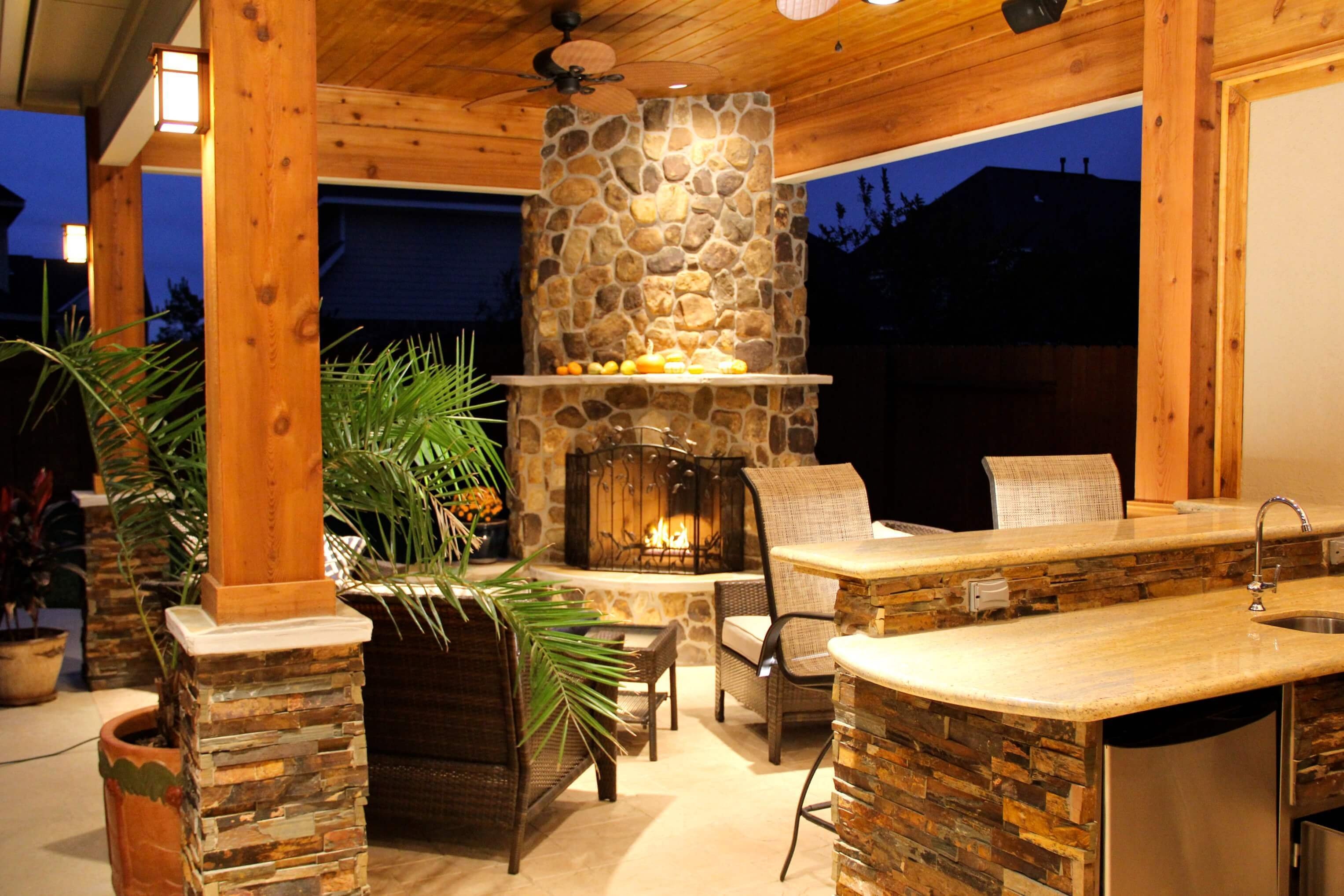 Patio Cover With Fireplace & Kitchen In Firethorne - Texas ... on Outdoor Kitchen And Fireplace Ideas id=17440