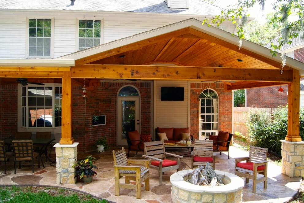 Patio Cover With Stone Cedar on Covered Porches And Outdoor Kitchen