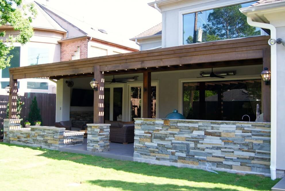Cedar pergola and outdoor kitchen