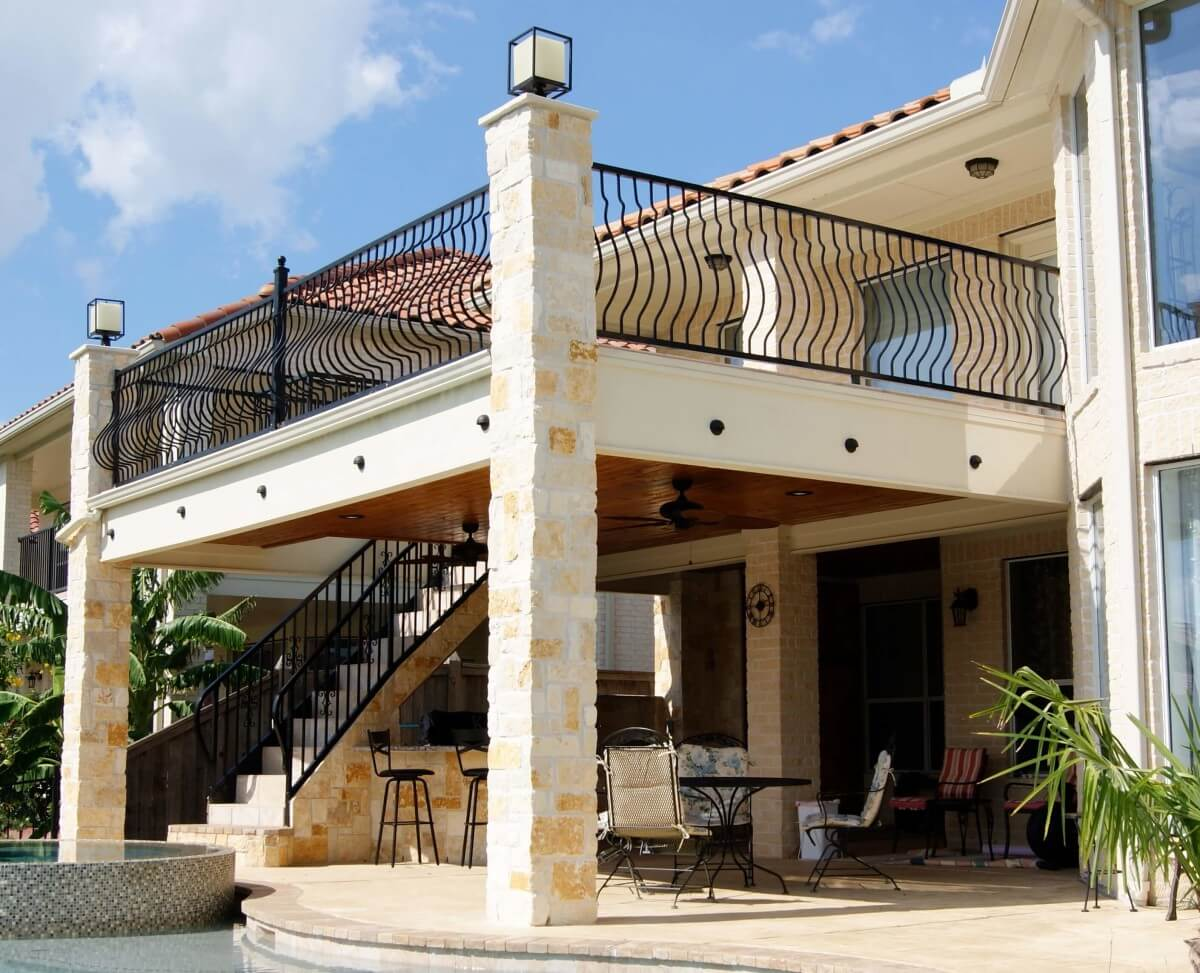 Balcony With Stairs Amp Kitchen Texas Custom Patios