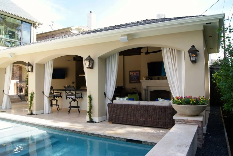 Freestanding loaded pool cabana texas custom patios for Outdoor cabana designs