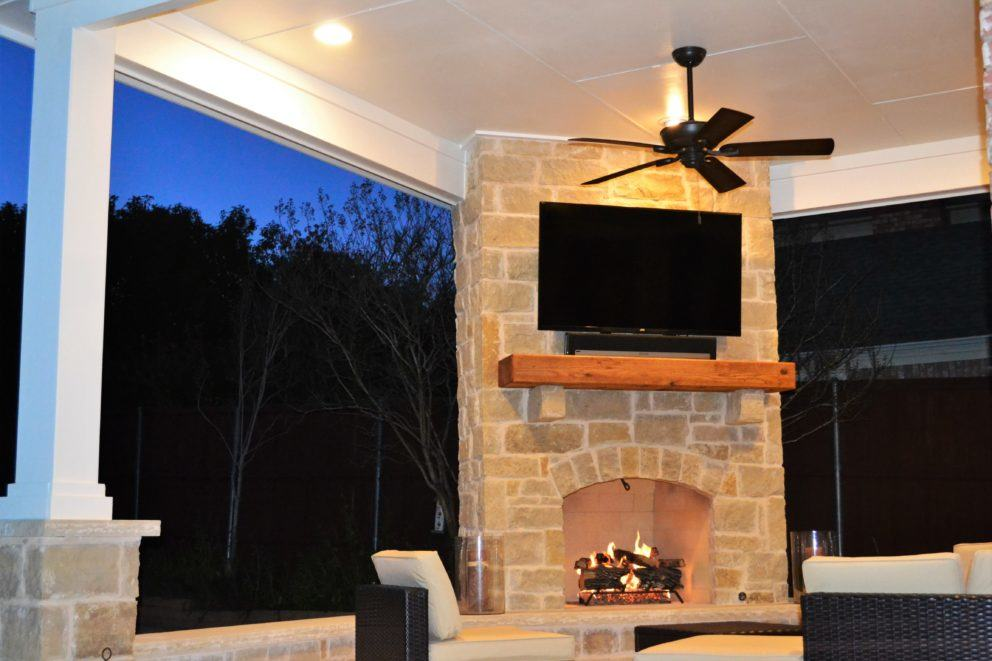 Las Colinas outdoor fireplace and patio cover