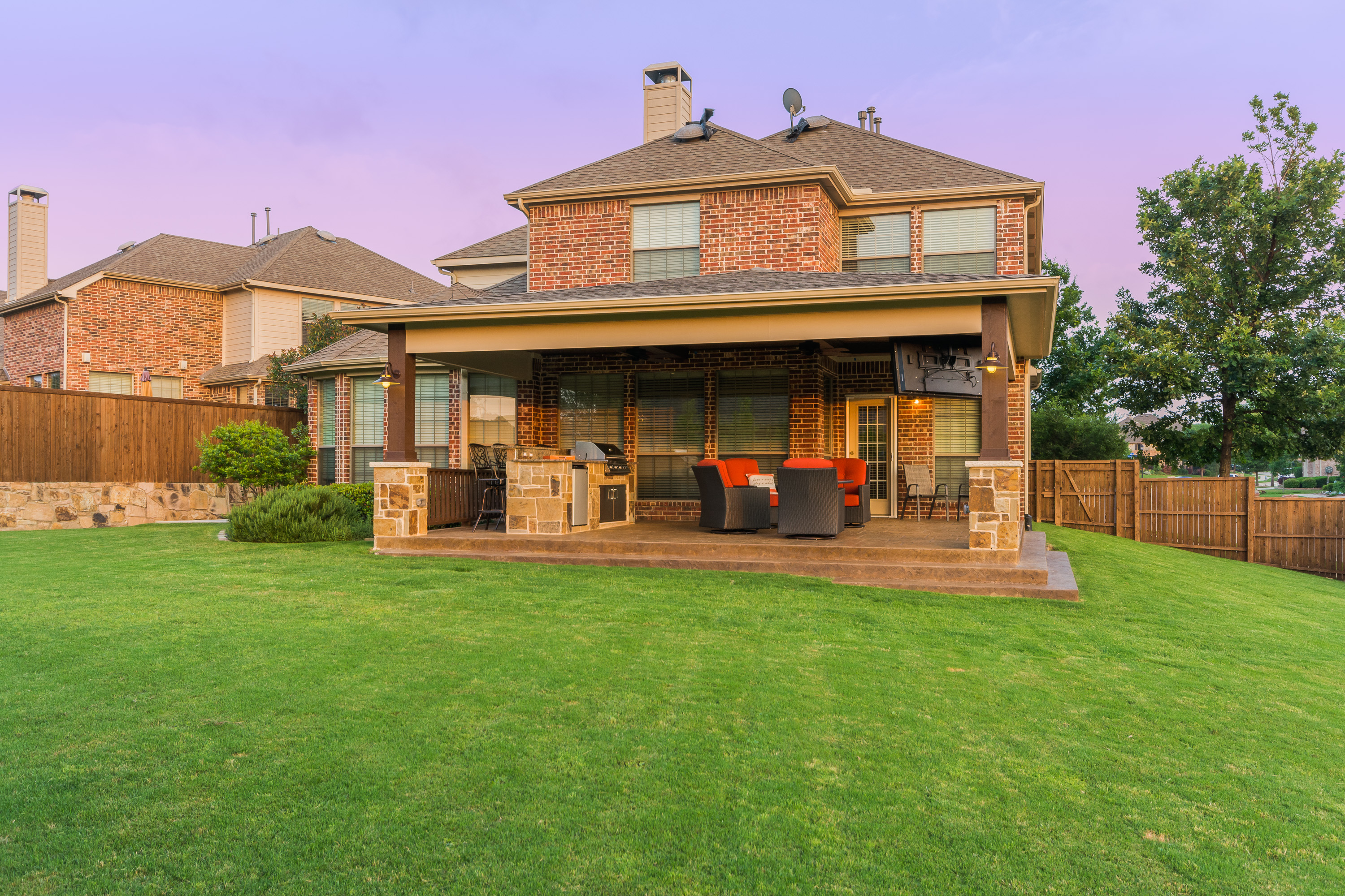 Patio Cover and Outdoor Kitchen in McKinney - Texas Custom ... on Custom Backyards id=54709