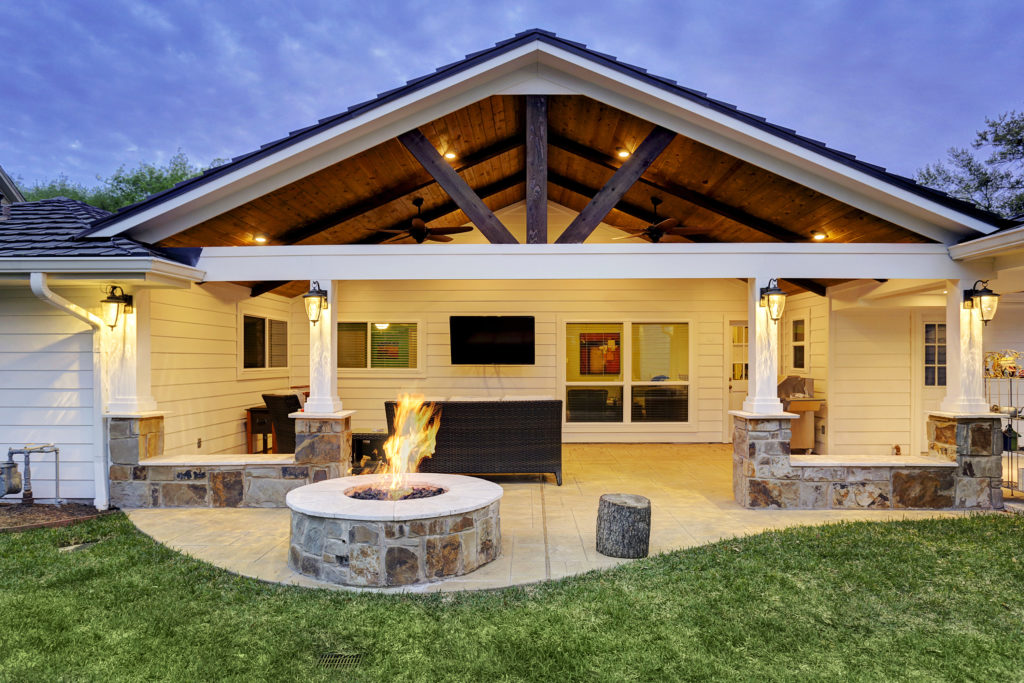 Patio Cover With Fire Pit Houston Texas Custom Patios