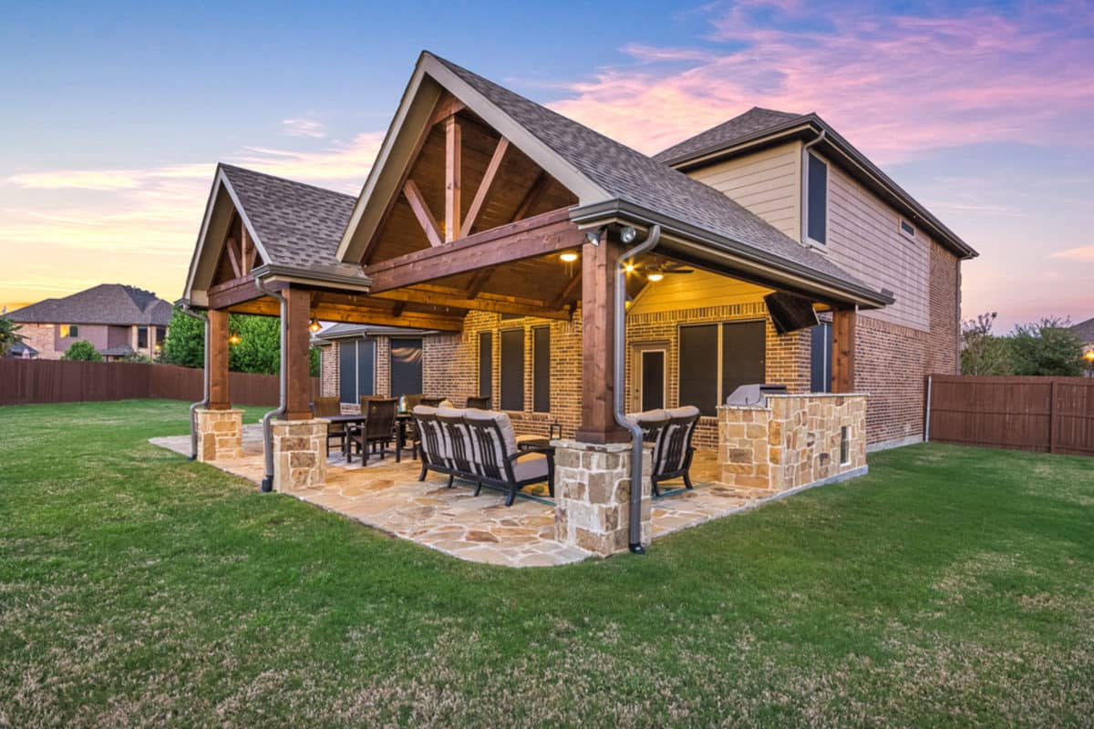 Patio Cover and Kitchen in Murphy - Texas Custom Patios on Patio Cover Ideas Images id=81420