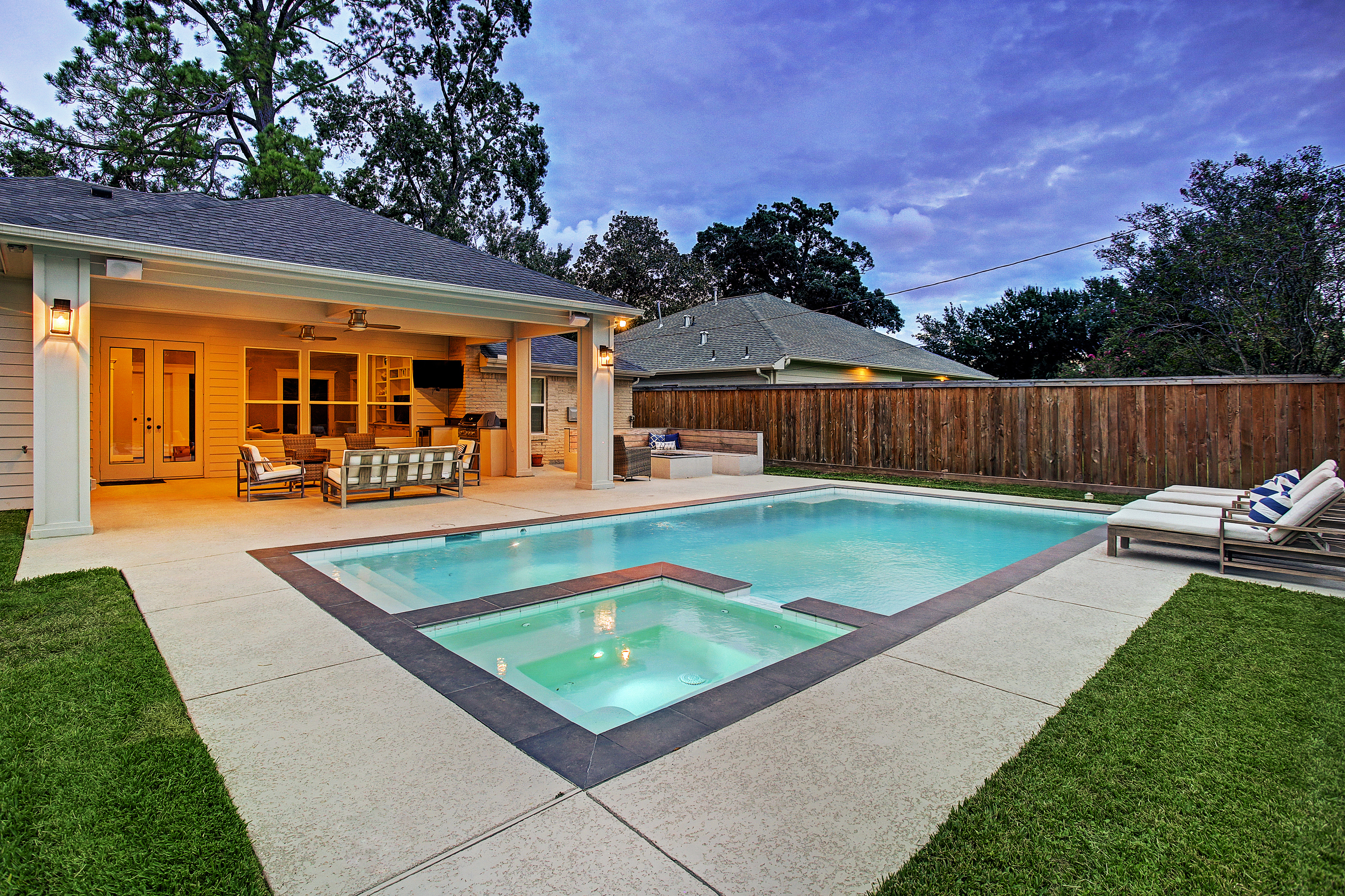 Pool And Patio Cover With Fire Pit In Timber Grove Area Of